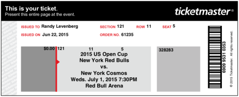 Red Bulls Cosmos 2015 ticket
